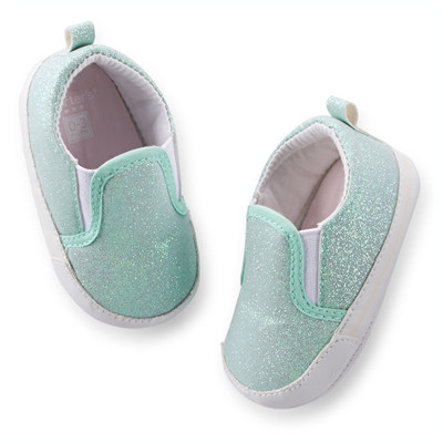 [29172A25] Carter'sGlitter Slip-On Crib Shoes
