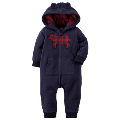 [118G031MO] Carter'sApplique Hooded Fleece Jumpsuit