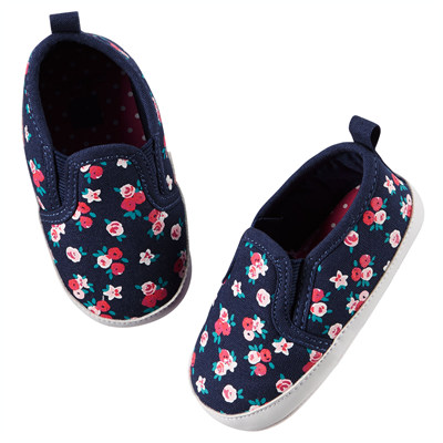 [51579A42] Carter'sFloral Slip-On Crib Shoes