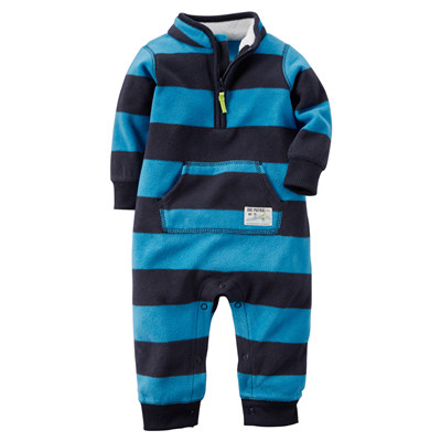 [118G030NF] Carter'sRugby Stripe Fleece Jumpsuit