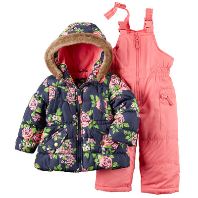 [C2155S20B30] Carter'sFloral Snowsuit Set