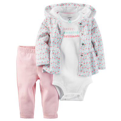 [126G278OR] Carter's3-Piece Babysoft Cardigan Set