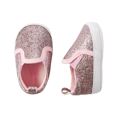 [13740A40] Carter'sGlitter Slip-On Crib Shoes