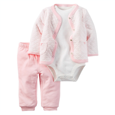 [121G930PG] Carter's3-Piece Quilted Cardigan Set
