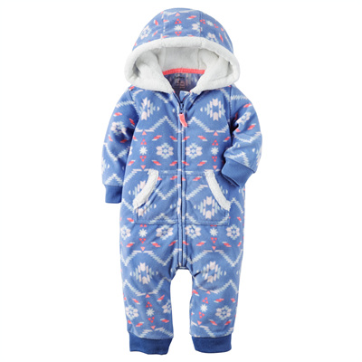[118G641PN] Carter'sHooded Fleece Jumpsuit