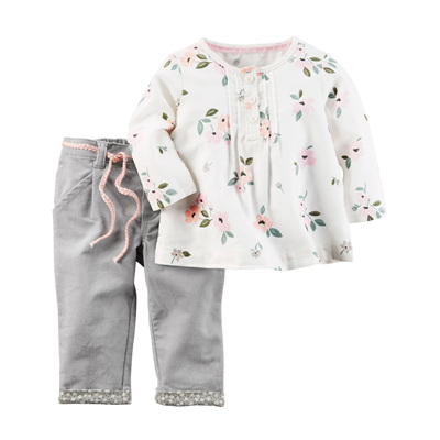 [127G228PY] Carter'sFloral Top & Corduroy Pant Set