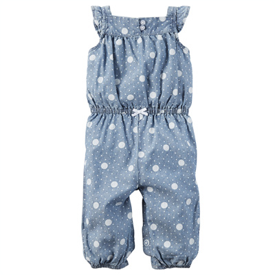 [118G918QO] Carter'sPolka Dot Chambray Jumpsuit