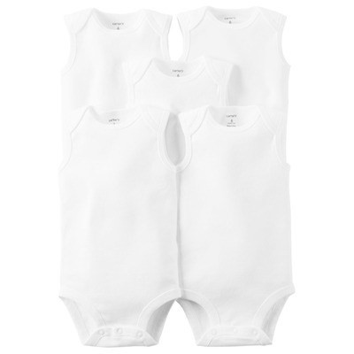 [126G774] Carter's WhiteSleeveless 5-P Bodysuits