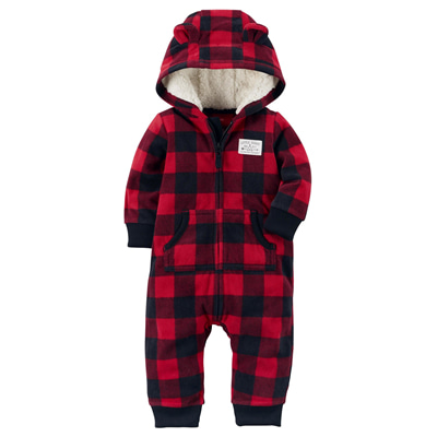 [118H398ED] Carter'sBuffalo Check Fleece Jumpsuit