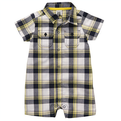 [#118-817BX] Carter'sShort-Sleeve Plaid Romper