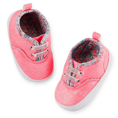 [27387A30] Carter'sGlitter Sneaker Crib Shoes(신발끈이 늘어나서 편리)