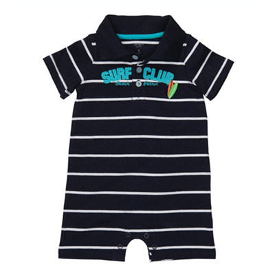 [#202-038T18] Carter's Striped Polo Romper