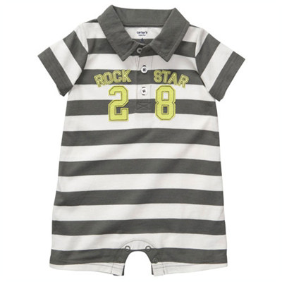 [#202A067AE] Carter'sPolo-Style Striped Romper