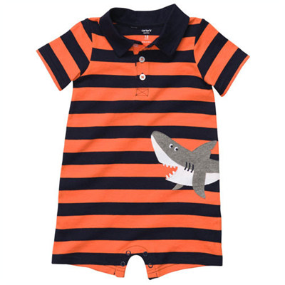 [#202A071AE] Carter'sStriped Polo-Style Romper
