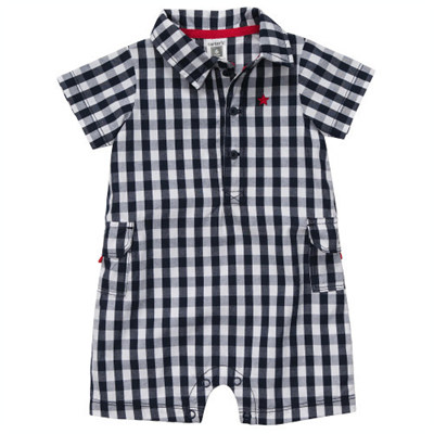[#118-708AM] Carter'sShort Sleeve Plaid Romper